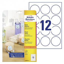 Avery-Zweckform L3416-100 Labels Ø 60 mm Paper White 1200 pc(s) Permanent All-purpose labels, Sticky dots Inkjet, Laser,