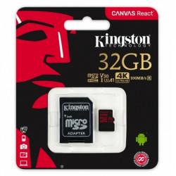 Atmiņas karte Kingston microSDHC Canvas React 32GB U3