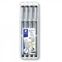 Flomāstera pildspalvu komplekts Pigment Liner 308WP4, Staedtler