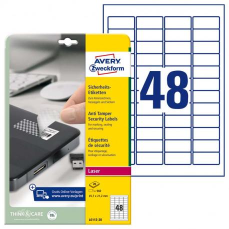Plombēšanas uzlīmes 45.7 x 21.2 mm, Avery Zweckform